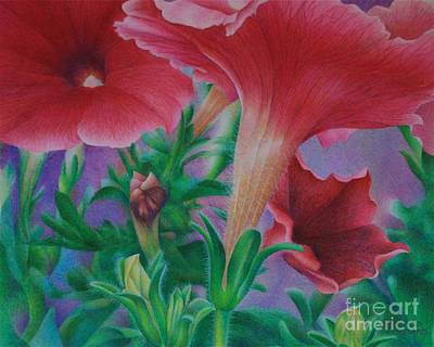 Poster featuring the painting Petunia Skies by Pamela Clements