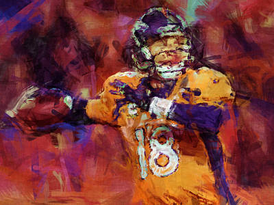 Peyton Manning Abstract 2 Poster by David G Paul