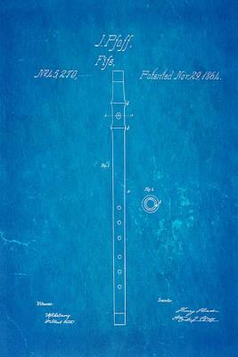 Pfaff Fife Patent Art 1864 Blueprint Poster by Ian Monk