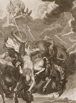 Phaeton Struck Down By Jupiter's Thunderbolt Poster by Bernard Picart