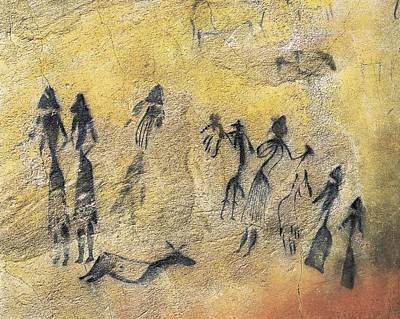 Phallic Dance. Mesolithic Art. Cave Poster