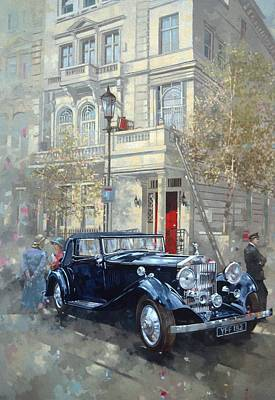 Phantom II Into Queens Gate Mews Oil On Canvas Poster by Peter Miller