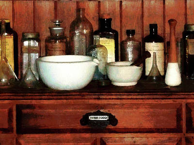Pharmacist - Cabinet With Mortar And Pestles Poster by Susan Savad