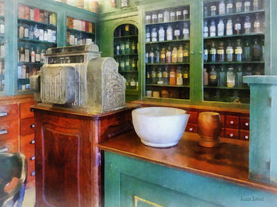 Pharmacist - Mortar And Pestle In Pharmacy Poster by Susan Savad
