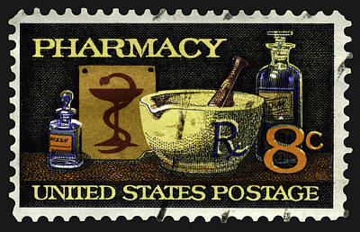 Pharmacy Stamp With Bowl Of Hygeia Poster by Phil Cardamone