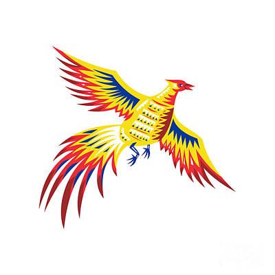 Pheasant Bird Fowl Flying Retro Poster