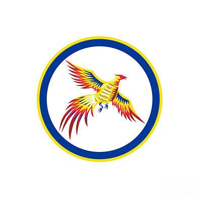 Pheasant Bird Fowl Flying Woodcut Circle Poster