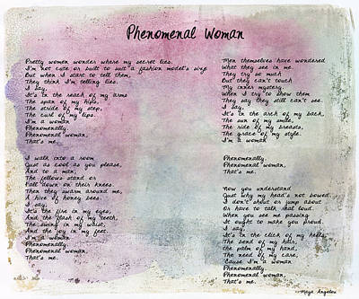 Phenomenal Woman - Watercolor Rustic Poster by Paulette B Wright