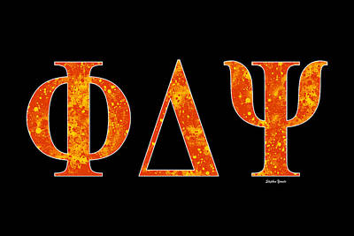 Poster featuring the digital art Phi Delta Psi - Black by Stephen Younts
