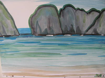 Poster featuring the painting Phi Phi Island by Vikram Singh