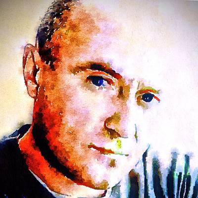 Phil Collins Digital Watercolor Portrait 2 Poster