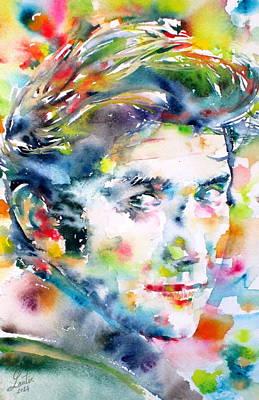 Phil Ochs - Watercolor Portrait Poster by Fabrizio Cassetta