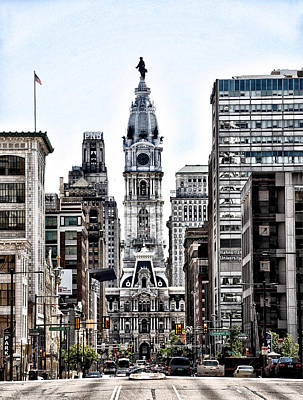 Philadelphia City Hall From North Broad Street Poster by Bill Cannon