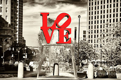 Philadelphia Love Mixed Poster by John Rizzuto