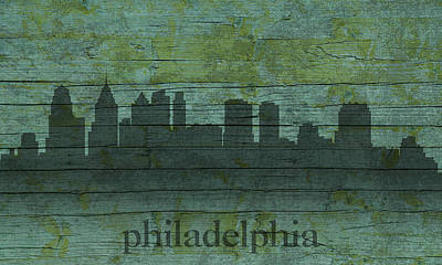 Philadelphia Pennsylvania Skyline Art On Distressed Wood Boards Poster by Design Turnpike