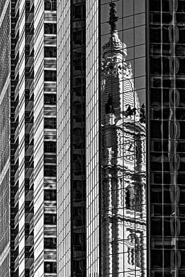 Philadelphia Reflections - Bw Poster by Susan Candelario