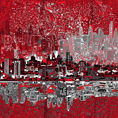 Philadelphia Skyline Abstract 4 Poster by Bekim Art