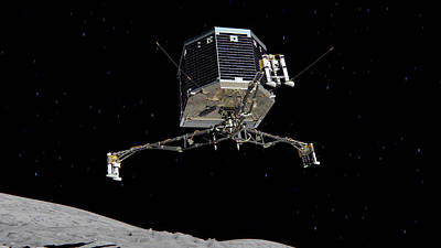Philae Lander Descending To Comet 67pc-g Poster
