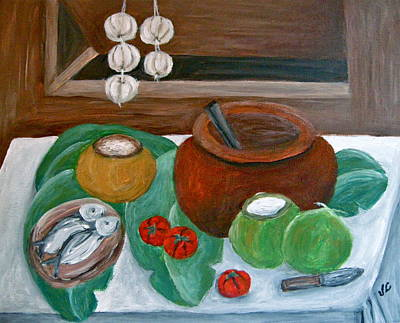 Poster featuring the painting Philippine Still Life With Fish And Coconuts by Victoria Lakes