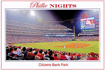 Phillies Night Baseball Poster Image Poster by A Gurmankin