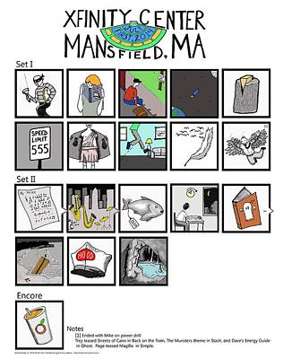Phish 7/1/14 Mansfield Illustrated Setlist Poster
