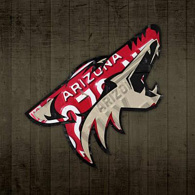 Phoenix Coyotes Retro Hockey Team Logo Recycled Arizona License Plate Art Poster