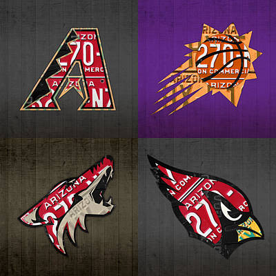 Phoenix Sports Fan Recycled Vintage Arizona License Plate Art Diamondbacks Suns Coyotes Cardinals Poster