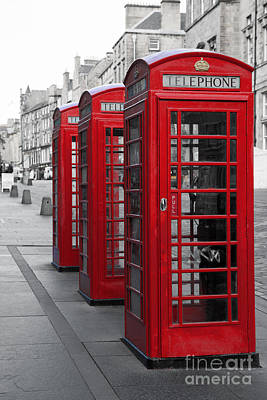 Phone Boxes On The Royal Mile Poster by Jane Rix