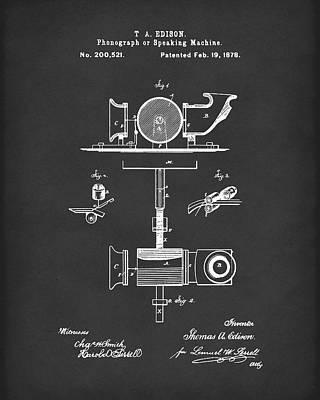 Phonograph 1878 Patent Art Black Poster