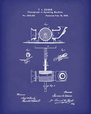 Phonograph 1878 Patent Art Blue Poster