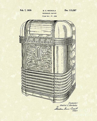 Phonograph Cabinet 1939 Patent Art Poster by Prior Art Design