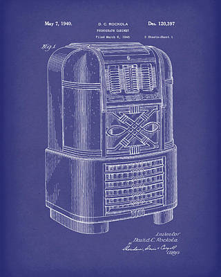 Phonograph Cabinet 1940 Patent Art Blue Poster by Prior Art Design