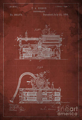 Phonograph Edison Patent Blueprint 2 Poster by Pablo Franchi