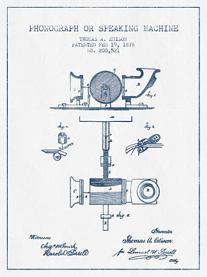 Phonograph Or Speaking Machine Patent Drawing From 1878- Blue In Poster by Aged Pixel