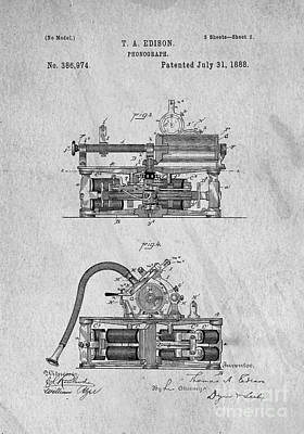 Phonograph Patent 1888 Thomas Edison Poster by Edward Fielding