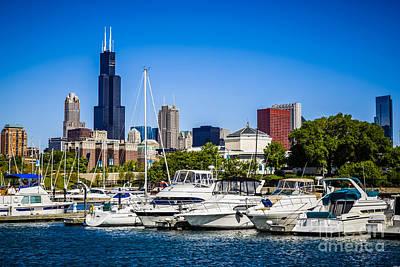 Photo Of Chicago Skyline With Burnham Harbor Poster by Paul Velgos