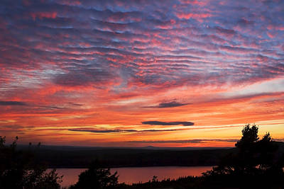 Photograph Of Sunset Eagle Lake Acadia National Park Photograph Poster by Keith Webber Jr