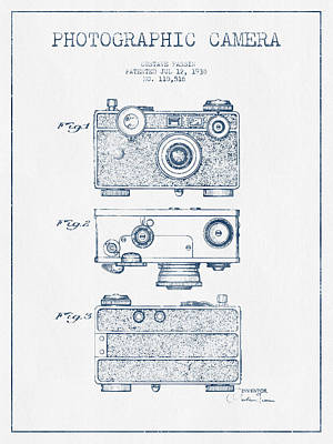 Photographic Camera Patent Drawing From 1938- Blue Ink Poster