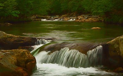 Photographic Painting Of Rushing Water Poster