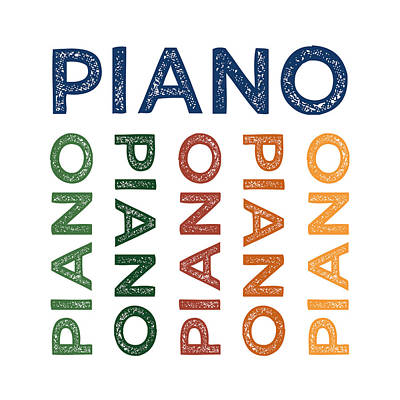 Piano Cute Colorful Poster by Flo Karp