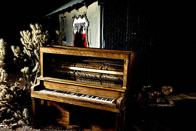 Poster featuring the photograph Piano In The Dark.  by James Sage