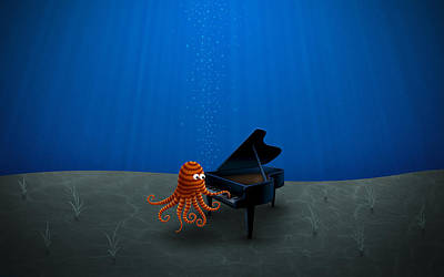 Piano Playing Octopus Poster