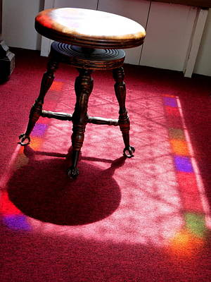 Piano Stool And Rainbow Light Poster by Jeff Lowe