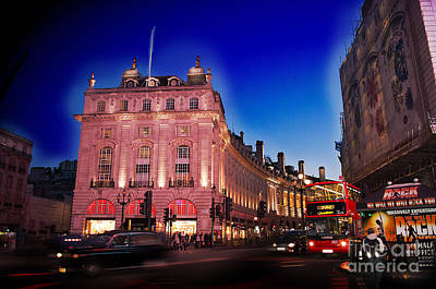 Piccadilly Circus At Dusk Poster by MaryJane Armstrong