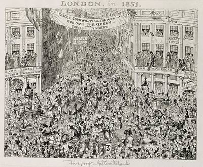 Piccadilly During The Great Exhibition Poster by George Cruikshank