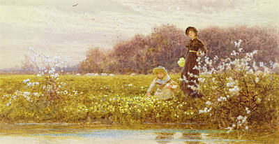 Picking Primroses Poster by Thomas James Lloyd