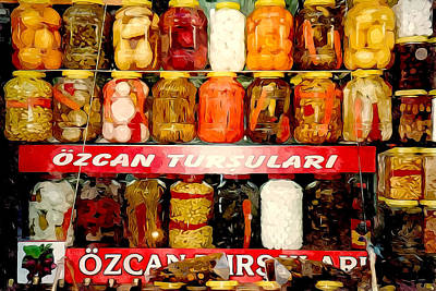 Pickled Vegetables In Glass Jars On Shelves Poster by Lanjee Chee