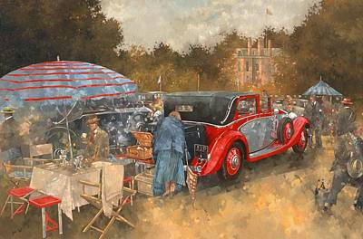 Picnic At Althorp Oil On Canvas Poster by Peter Miller