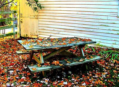 Picnic Table In Autumn Poster