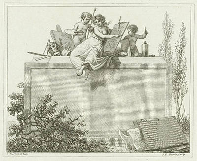 Pictura Flanked By Two Putti, Jacob Ernst Marcus Poster